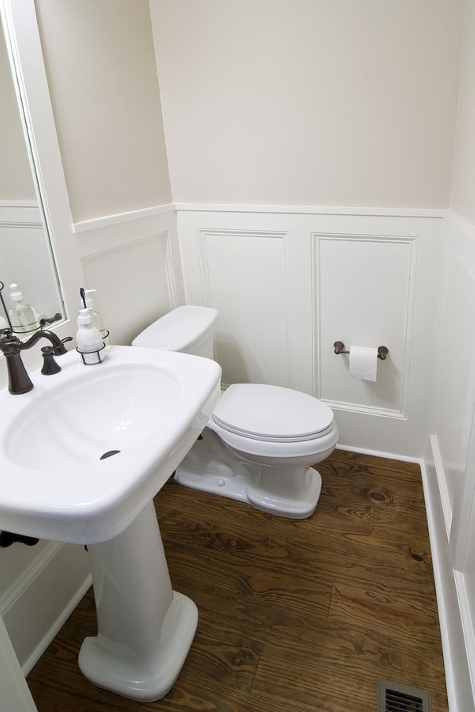 Bathroom, Brown Wood Floor Ideas With Chic Wainscoting In ...