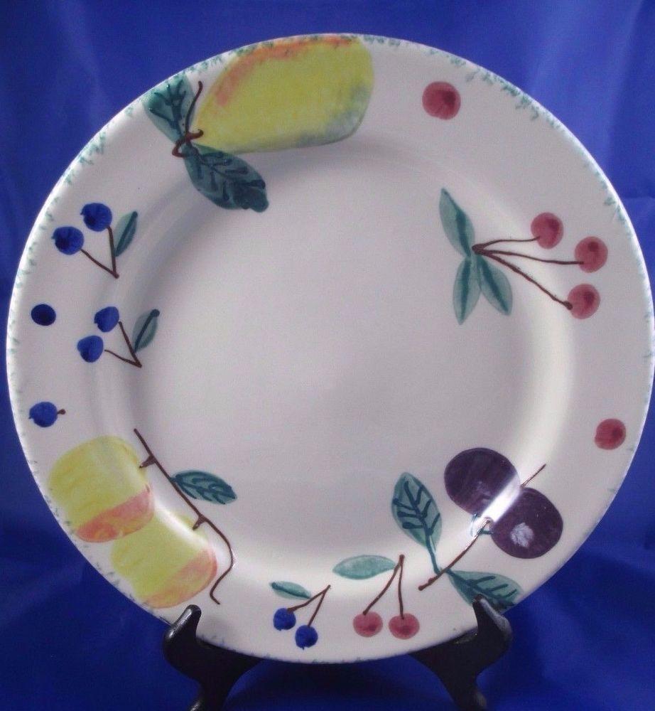 Heartstone FRUIT SALAD Artisan Signed Handcrafted 11 1/8\  Dinner Plate #HeartstoneUSA & Heartstone FRUIT SALAD Artisan Signed Handcrafted 11 1/8\