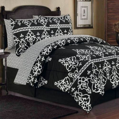 King Toile French Damask Black White Arabesque Comforter Bed Set W Sheets