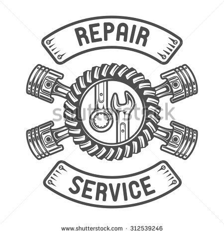 Repair Service. Gears, wrenches and pistons. Auto emblem
