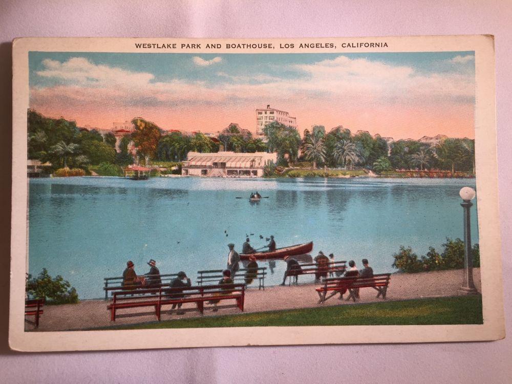 Vintage Westlake Park, Los Angeles, CA postcard unposted early 1900s
