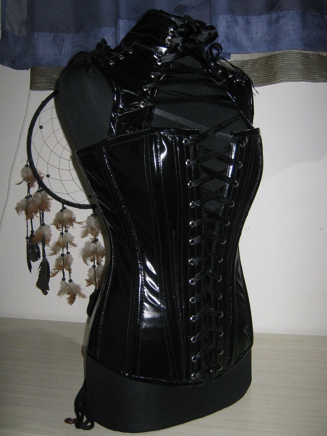 Black pvc CORSET - overbust very particupal, metal boning and CUSTOM MADE. $230.00, via Etsy.