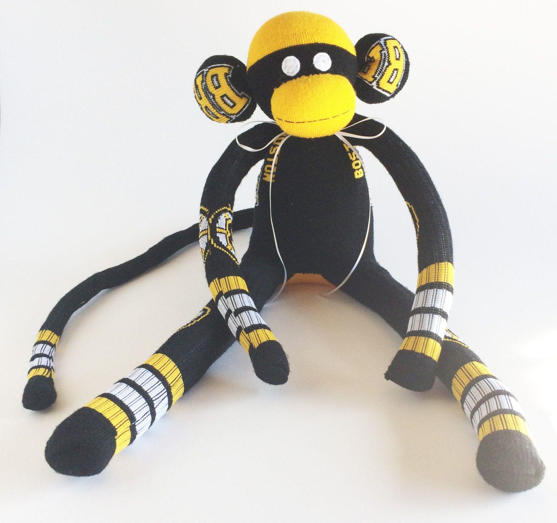 Boston Bruins Sock Monkey Nhl National Hockey League Etsy Sock Monkey Handmade Sock Monkey Hockey Socks