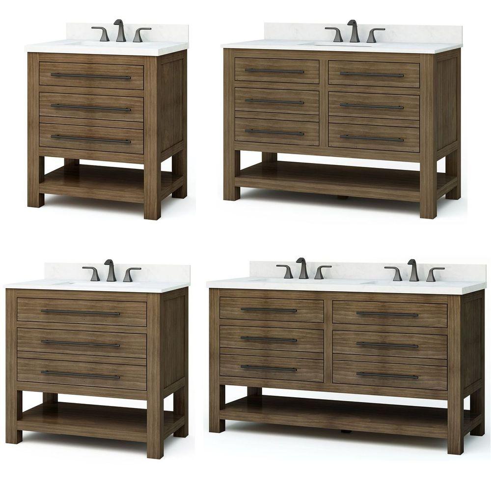 Allen Roth Kennilton 48 In Gray Oak Undermount Single Sink Bathroom Vanity With White Carrera Engineered Stone Top Lowes Com Single Sink Bathroom Vanity Vanity Oak Bathroom Vanity