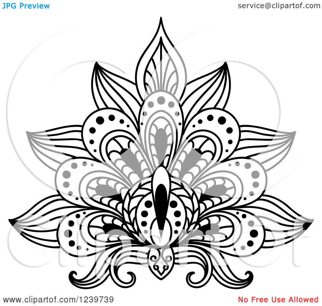 Clipart of a black and white henna lotus flower 10 royalty free clipart of a black and white henna lotus izmirmasajfo Image collections