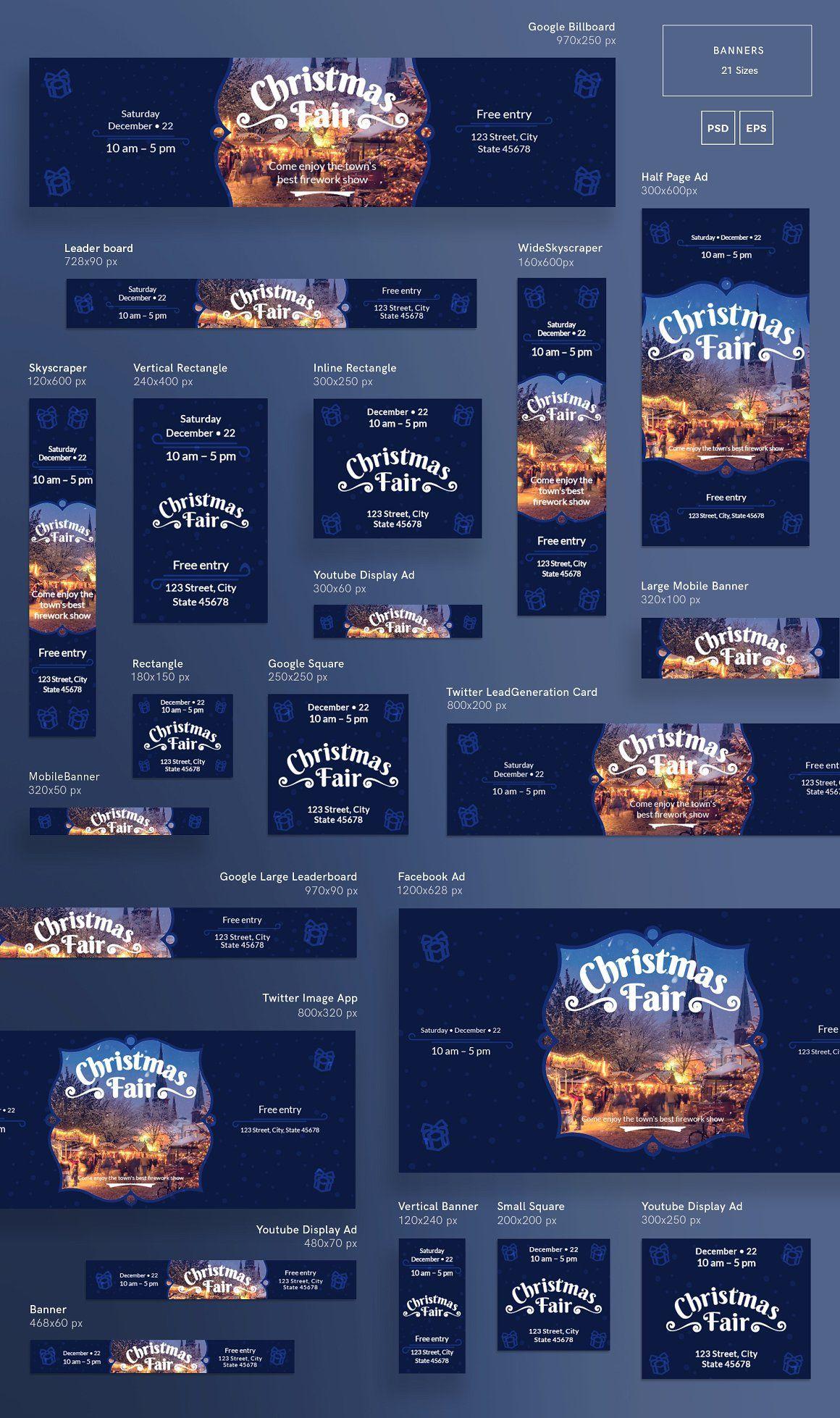 Christmas Web Banner Bundle Amber Graphics Web Banner Web - Display ad templates