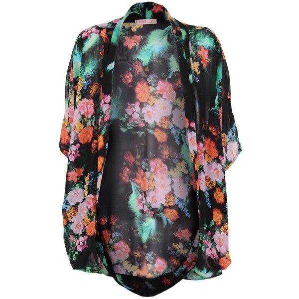 Womens Floral Sheer Chiffon Mesh Kimono Sleeve Open Shrug Cardigan ...