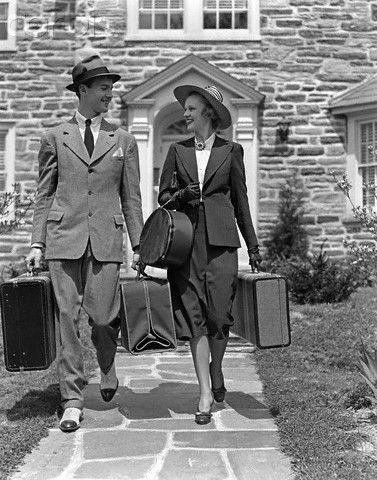 1940s Fashion   Traveling Attire Day Wear Vintage Suit Men Women Fashion  Style Hat Shoes Gloves ~