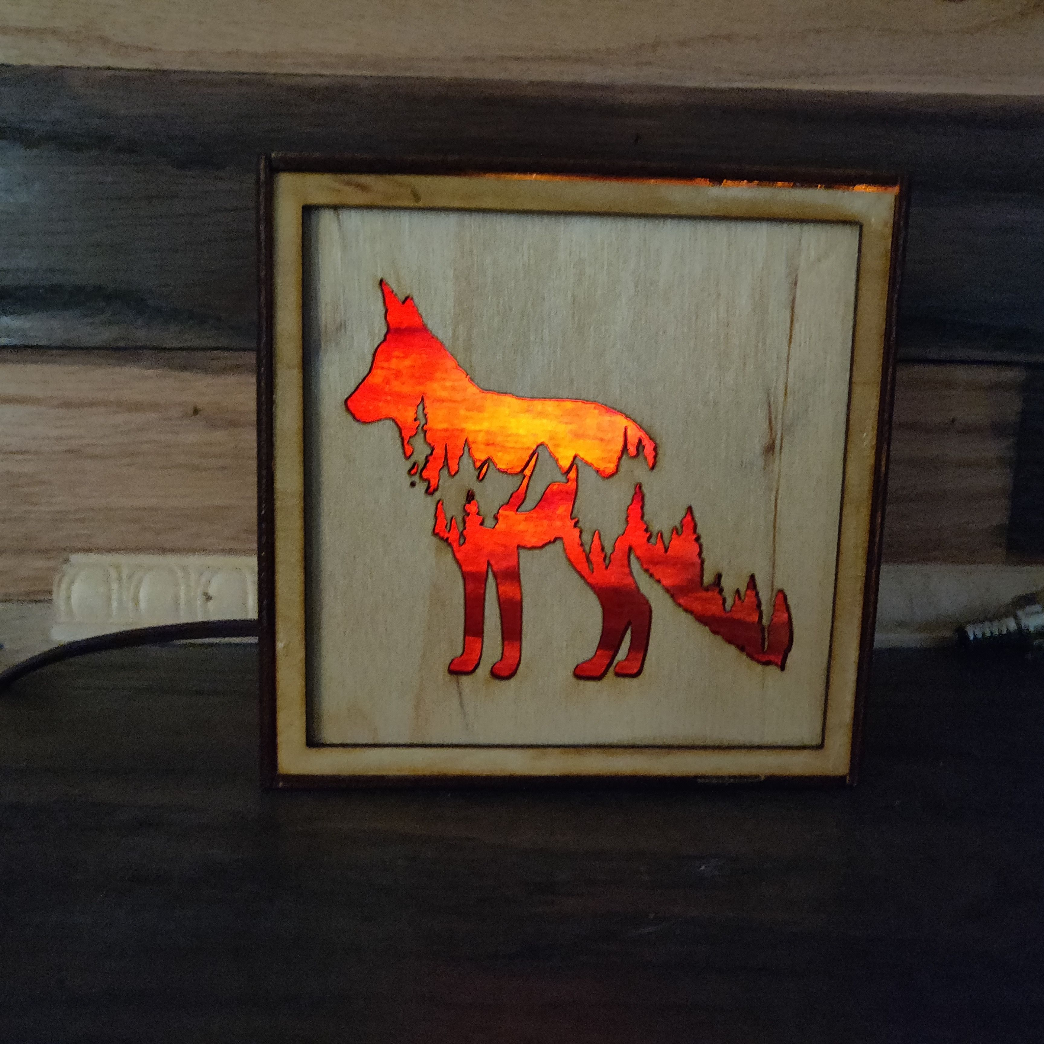 Wolf Table Top Box Mountain Designs Wall Art Tree Silhouette