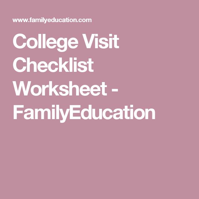 College Visit Checklist Worksheet College Visit College Information College