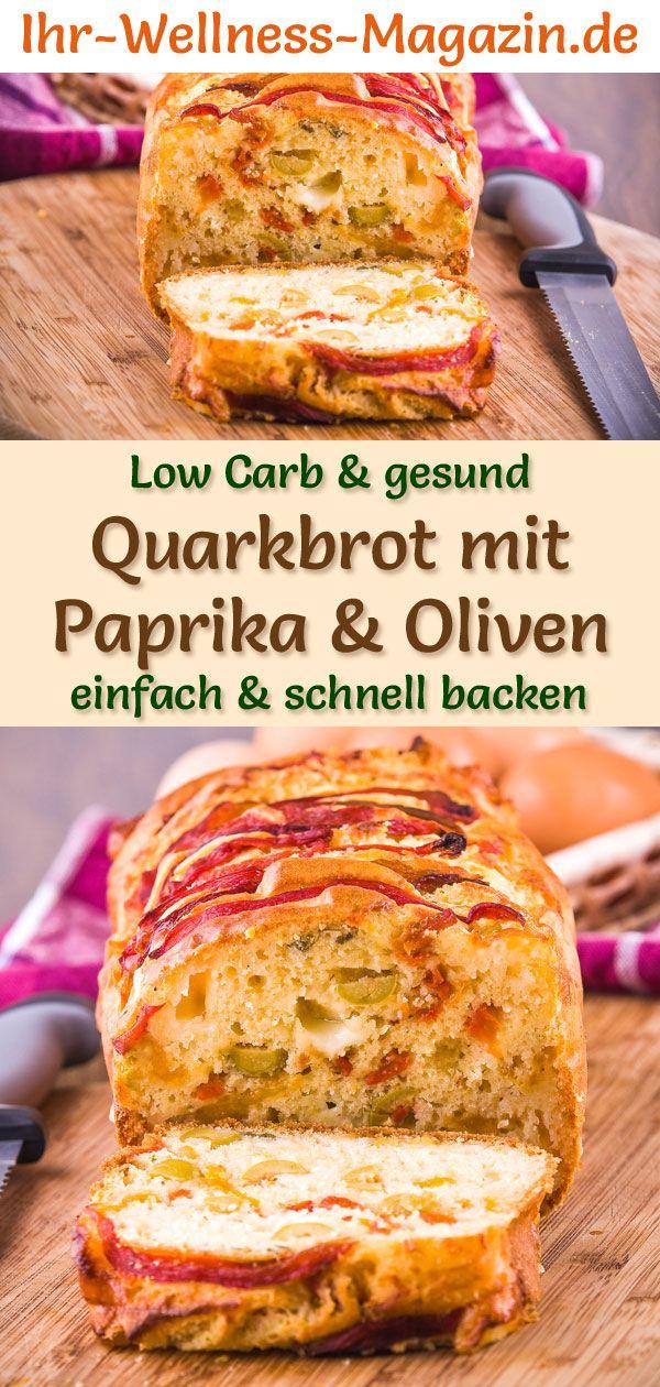 Low Carb Quarkbrot mit Paprika und Oliven - gesundes Rezept zum Brot backen