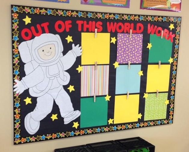 Space theme bulletin board reach for the stars 4th for Outer space classroom decor
