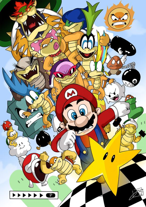 Super Mario Bros 3 Artwork Nintendo Nes Bowser Hoạt Hinh