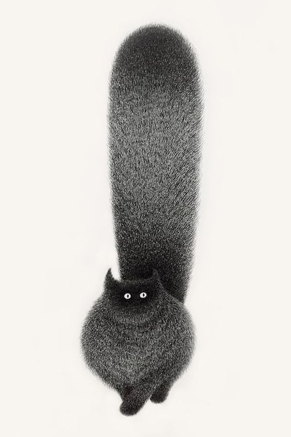 Artist Kamwei Fong is the creator ofThe Furry Thingseries: a collection of adorable fluffy black cat ink drawings.