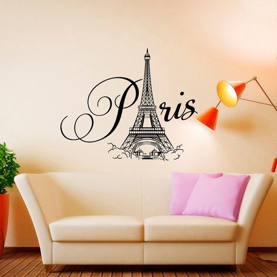 Paris Wall Decal Vinyl Lettering Bedroom Decor Eiffel Tower