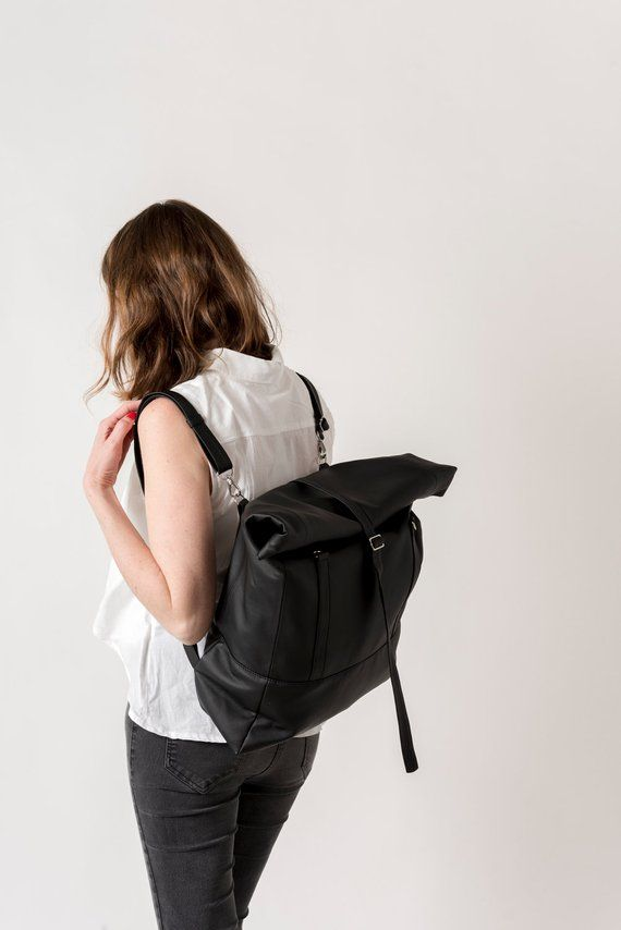 3036bd336d959 Convertible Backpack, Vegan Leather Tote Bag, Rolltop Backpack, Faux  Leather Backpack, Vegan Travel