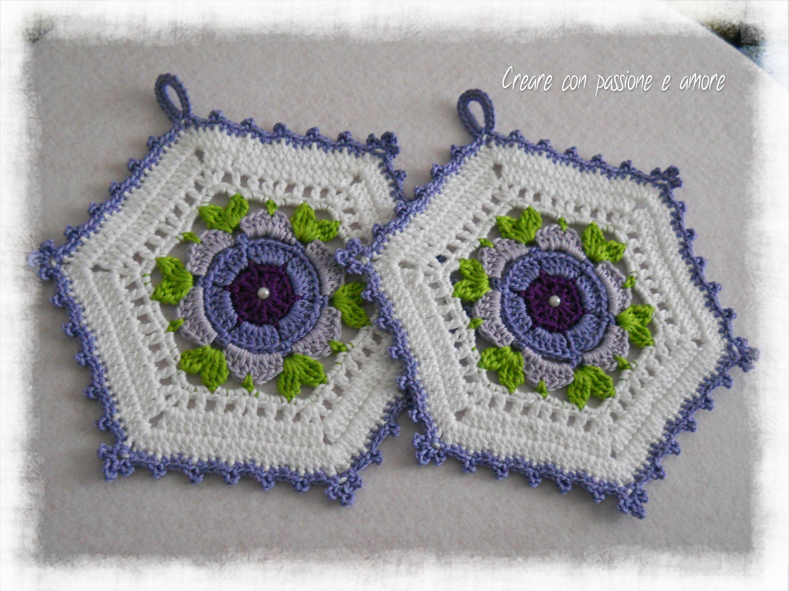 PRESINE UNCINETTO <3 #creareconpassioneeamore #crochet #potholder ...