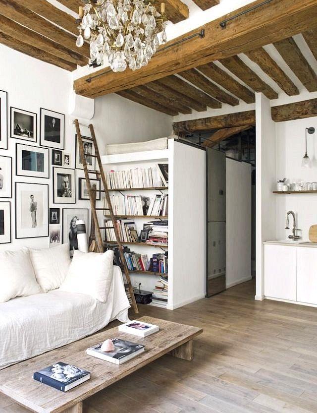 Modern Rustic Apartment Living Room this paris apartment is rustic modern perfection | living spaces