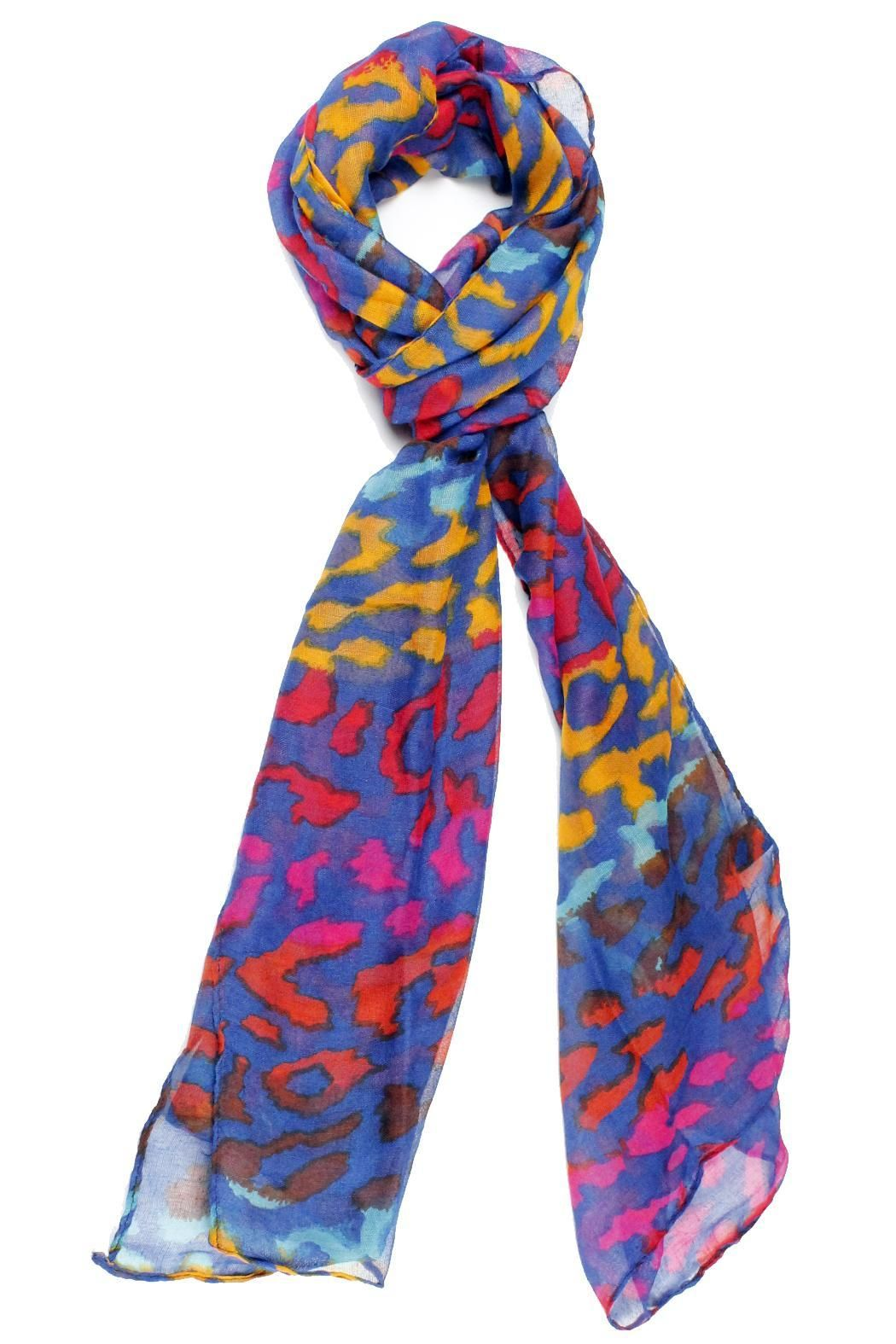 "Colorful, leopard printed scarf in three different colorways.     Measures: 21"" x 66""    Colorful Leopard Scarf by Violet Del Mar. Accessories - Scarves & Wraps San Diego, California"