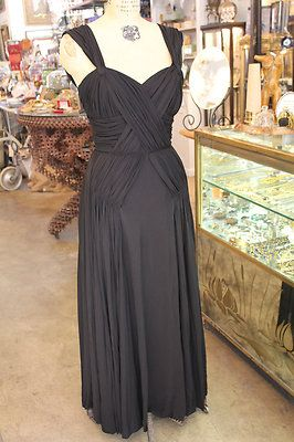Circa 30s Madame Gres Style Draped Miles of Silk Evening Gown Dramatic Plunge | eBay