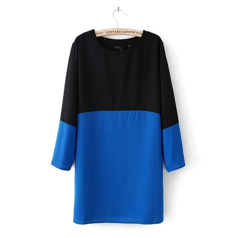 2013 new fashion  blue black and red black white black block decoration brief wrist-length straight long sleeve chiffon  dresses $9.90