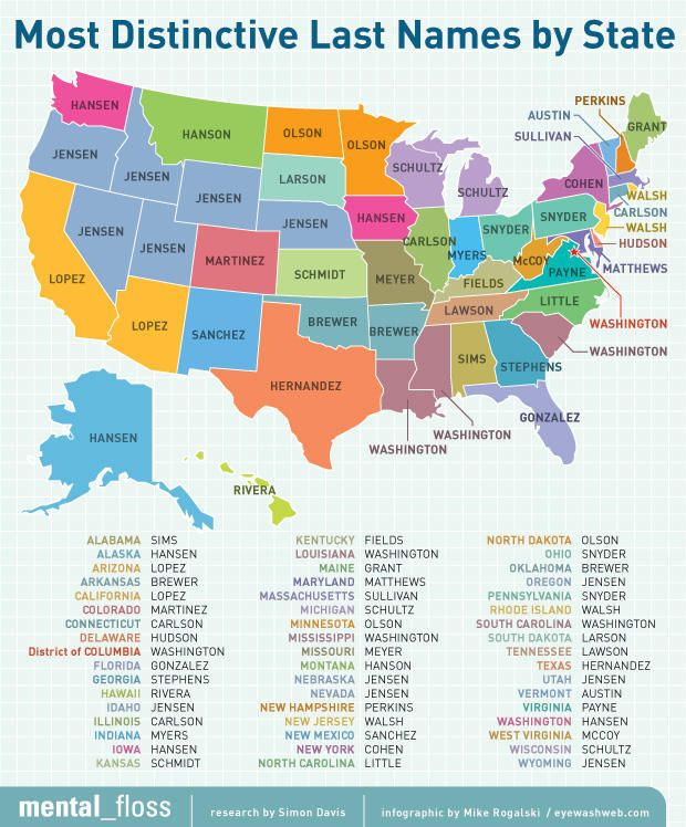 Map Of The United States Of America With Names.Maps On The Web Most Distinctive Last Names By Us State Related