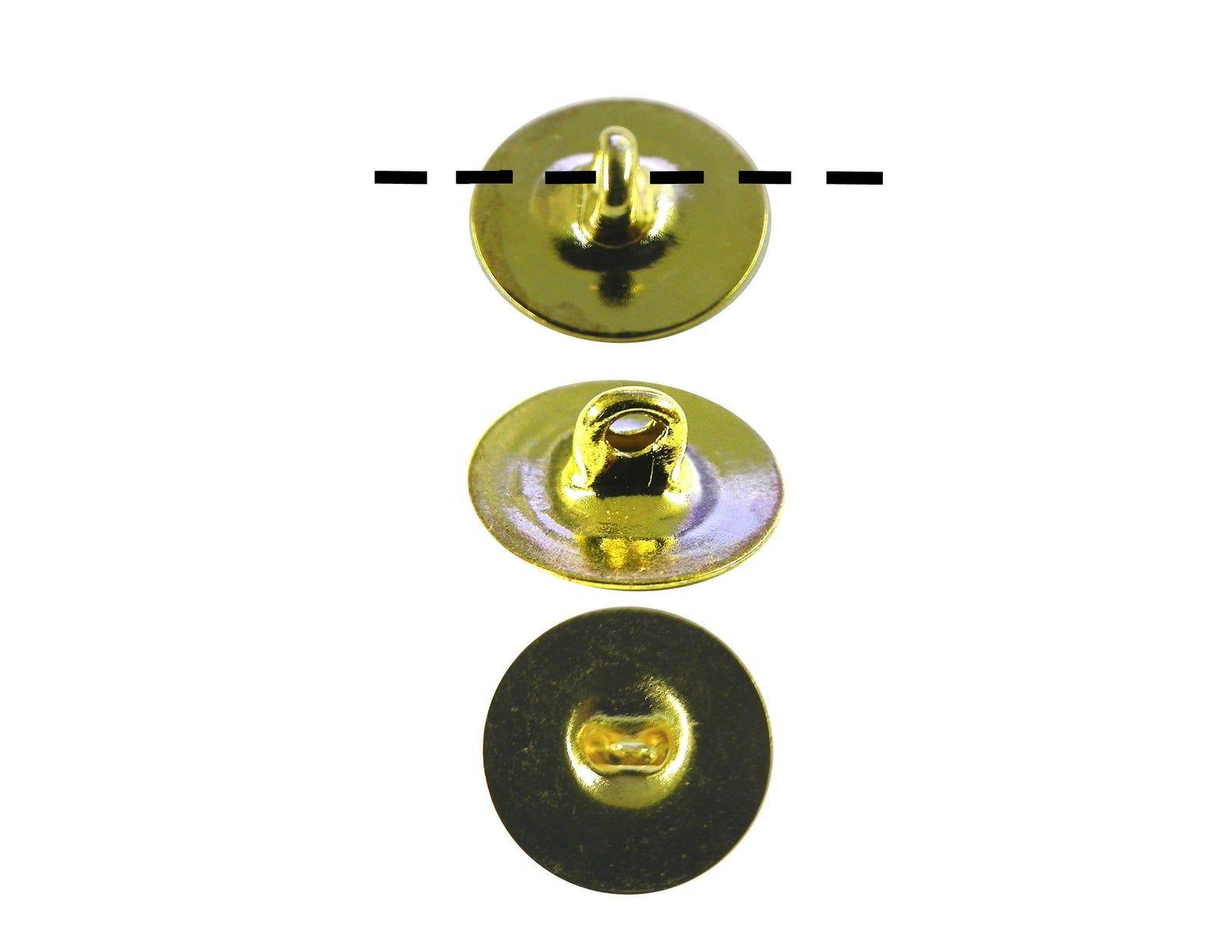 12 1 dozen gold plated 10mm glueable button backs shanks