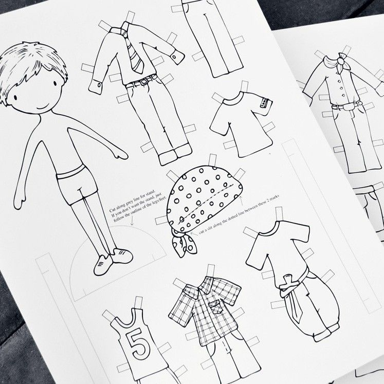 Print and Colour Paper Doll for Boys (PDF) Paper dolls