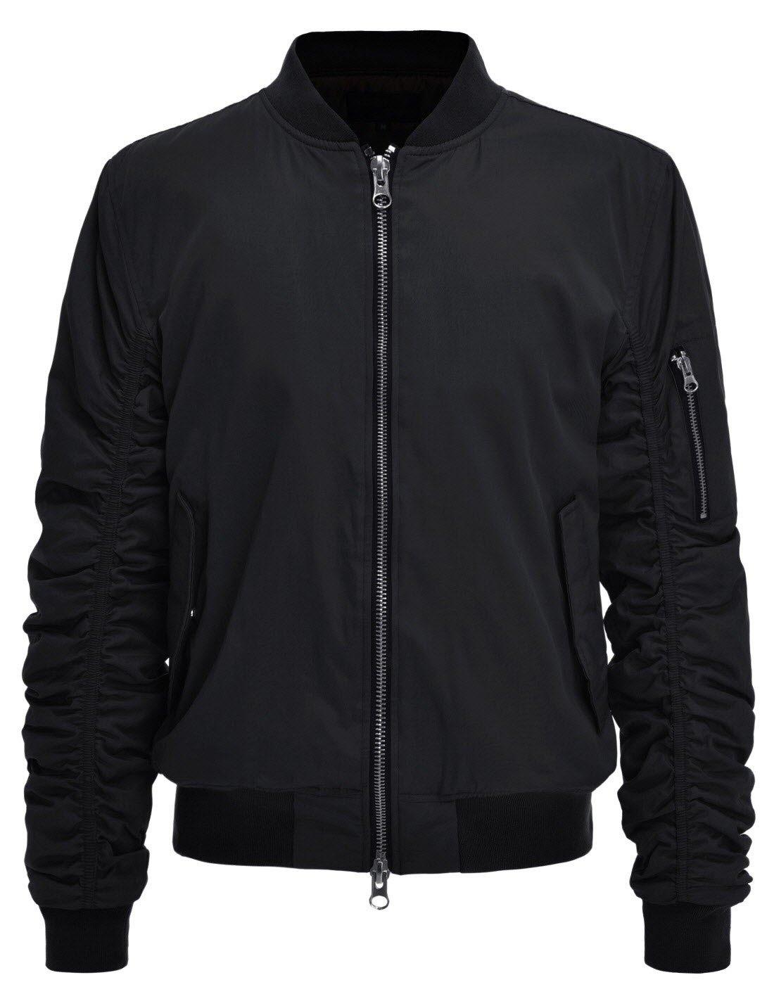 Men's Modern Fit Elastic Sleeve MA1 Bomber Jacket