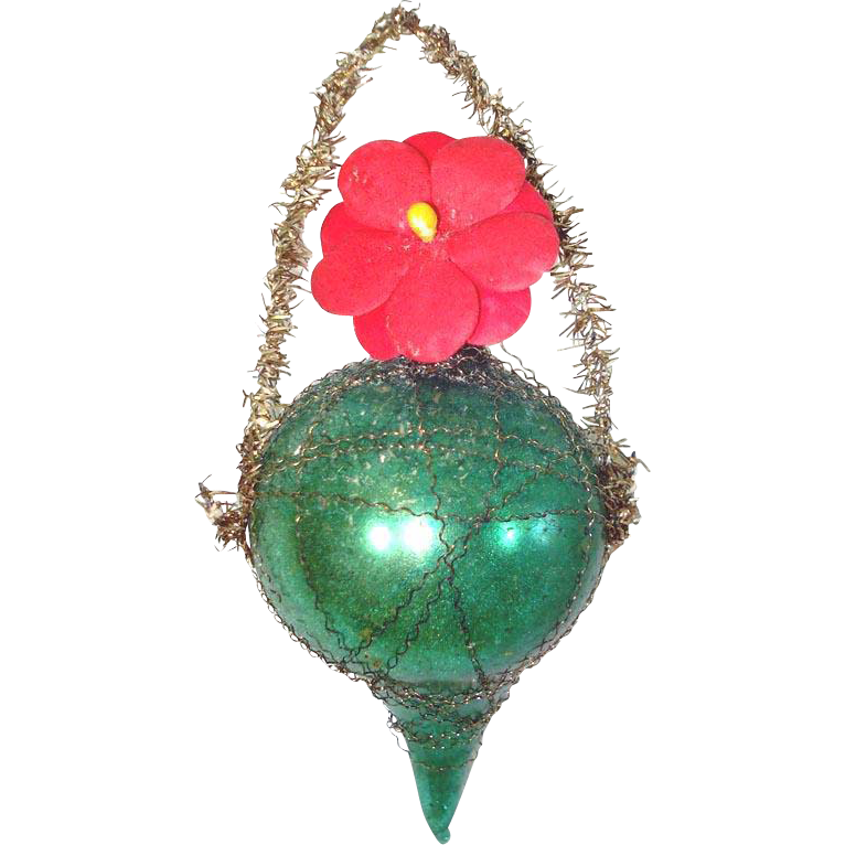 German Wired Drop Glass Christmas Ornament With Flower