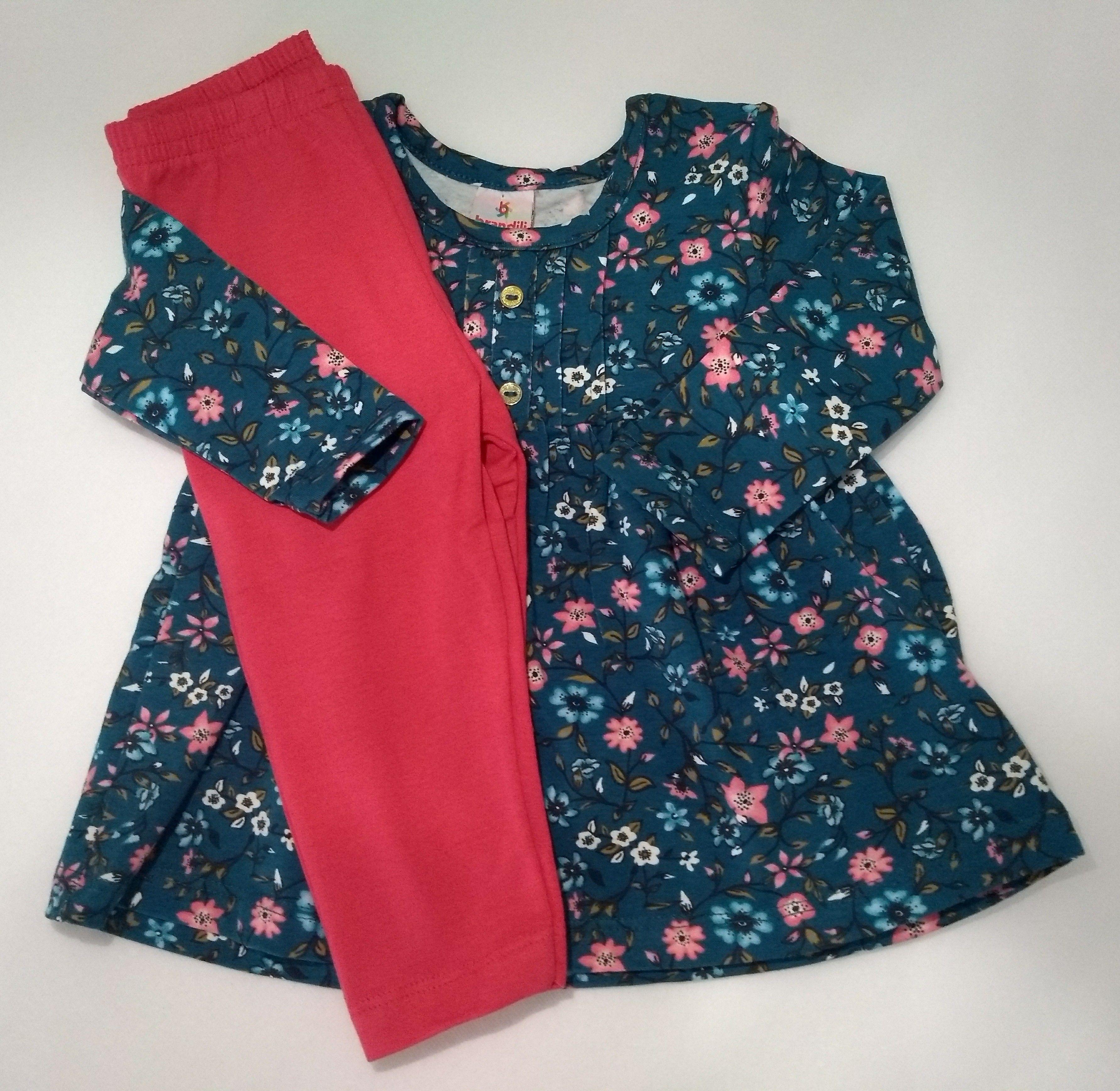 cf1d671f4d Conjunto de frio infantil Bebê menina Composto por Blusa Manga longa e  Calça legging Blusa -