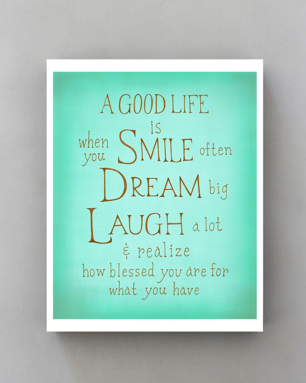 Smile Dream Laugh... Inspirational Quote Poster