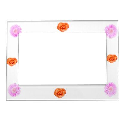 Girly pink and red flower 5x7 Magnetic Frame | Magnetic frames