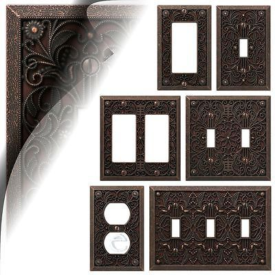 Amerelle Wall Plates Wall Switch Plate Cover Filigree Aged Bronze Outlet Toggle Decora