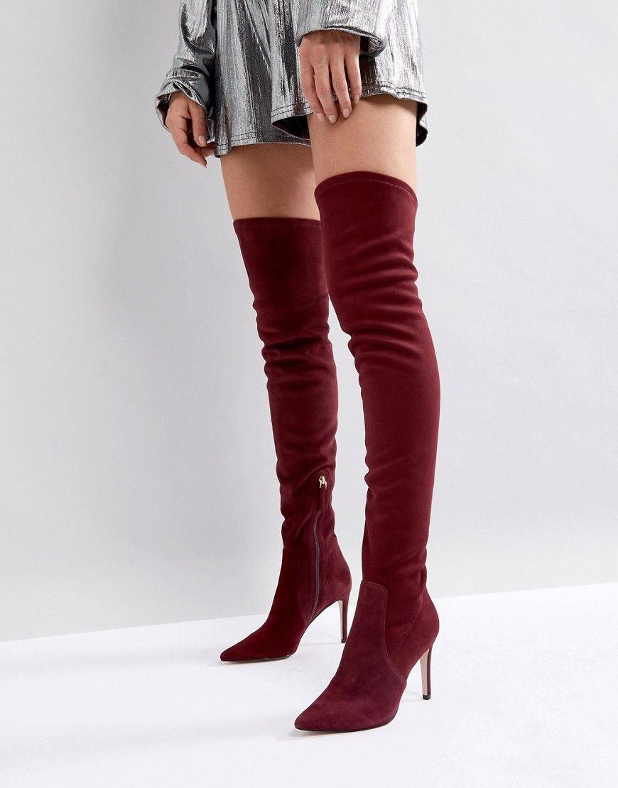Knee Suede Boot in Berry – Red