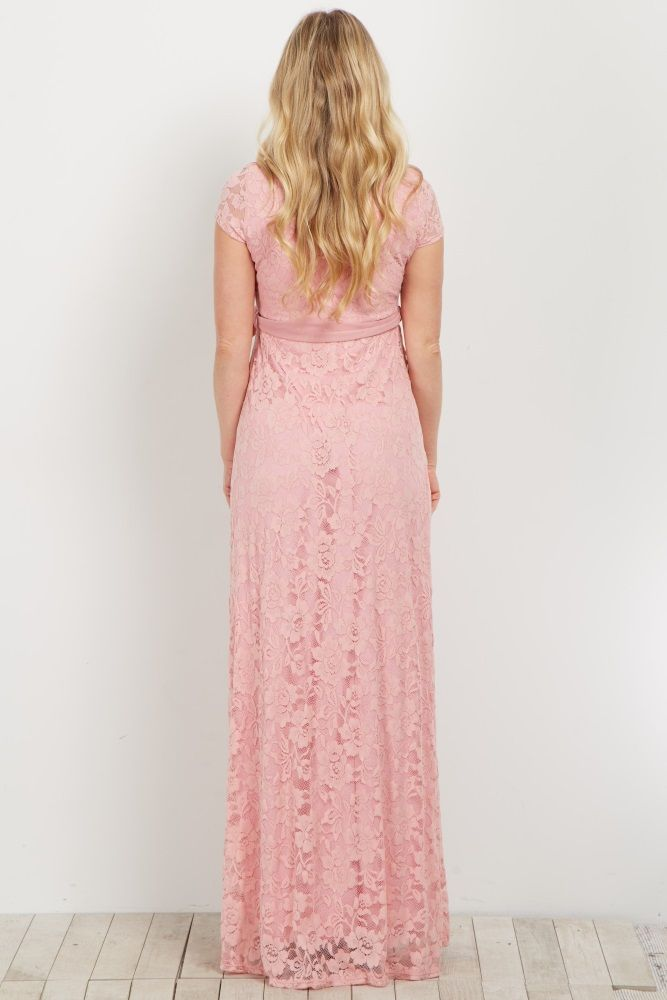Pink Lace Sash Tie Maternity Gown  0c8550e6a