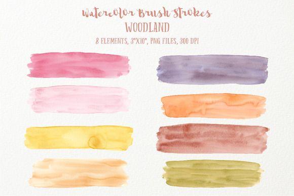 Watercolor Brush Strokes Woodland by Corner Croft on @creativemarket