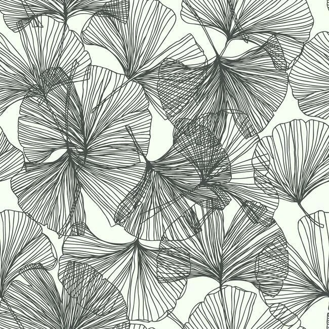 Gingko Leaves Peel Stick Wallpaper In Black And White By Roommates F In 2020 Peel And Stick Wallpaper Wallpaper Roll Wallpaper