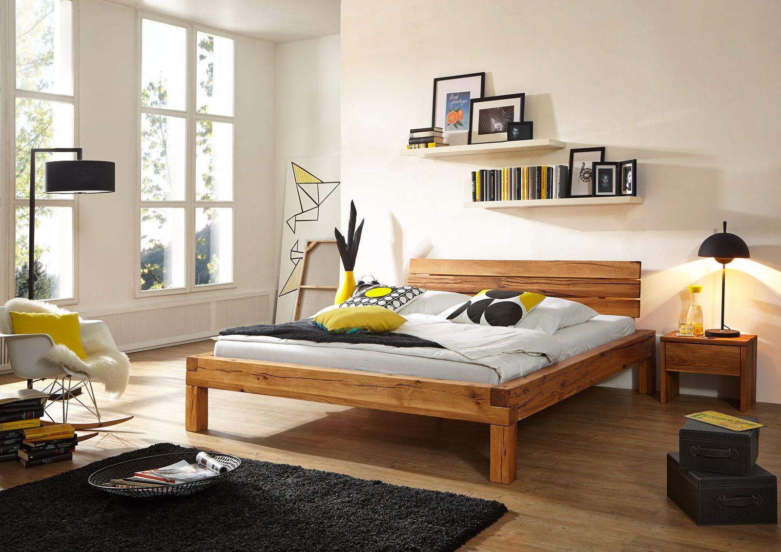 sam® balkenbett kernbuche benno massiv holzbett 200 x 200 cm, Schlafzimmer entwurf