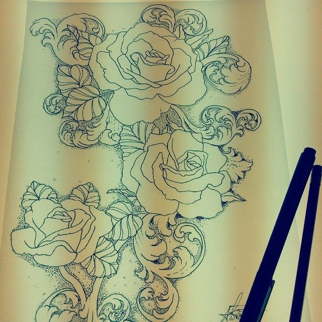 Rose And Filigree Tattoo Google Search Filigree Tattoo Rose Tattoos Tattoos,Simple Corner Border Designs For Projects