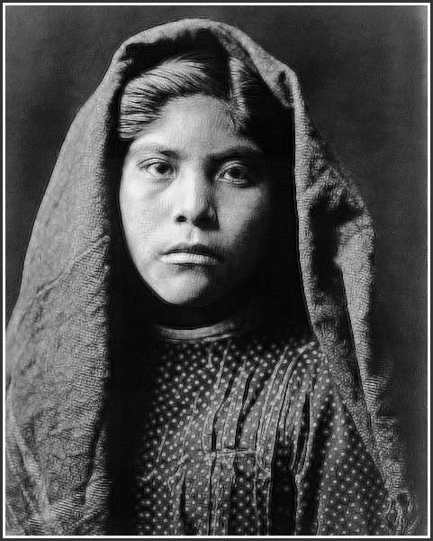 Beautiful Pima Indian Girl. A portrait by Edward S. Curtis 1907.