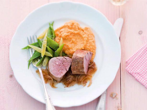 Kürbis-Rezepte: Schweinefilet mit Kürbis-Püree und Bohnen