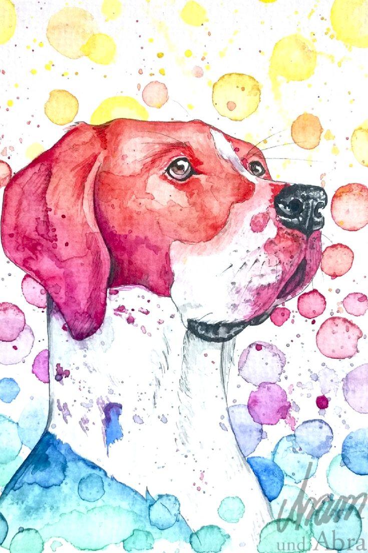 Regenbogenfarben Tierportrait Hund Deutsche Dogge Aquarell Auf