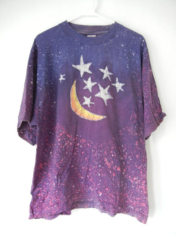 vintage star and moon t shirt size medium large purple batik hippie 90 39 s tumblr goth. Black Bedroom Furniture Sets. Home Design Ideas