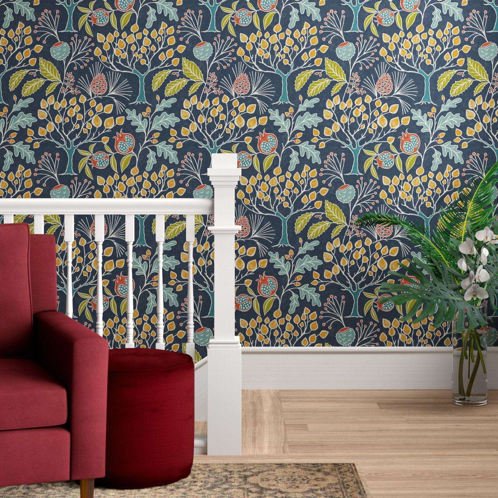 Asotin Garden Semi Gloss Peel And Stick Wallpaper Roll In