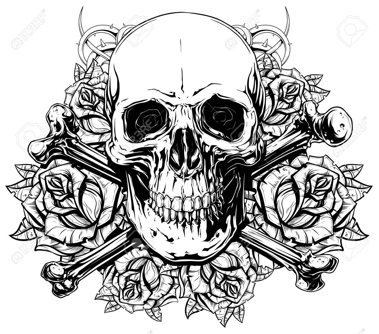 Graphic Human Skull With Crossed Bones And Roses Skull Coloring Pages Skulls Drawing Realistic Drawings