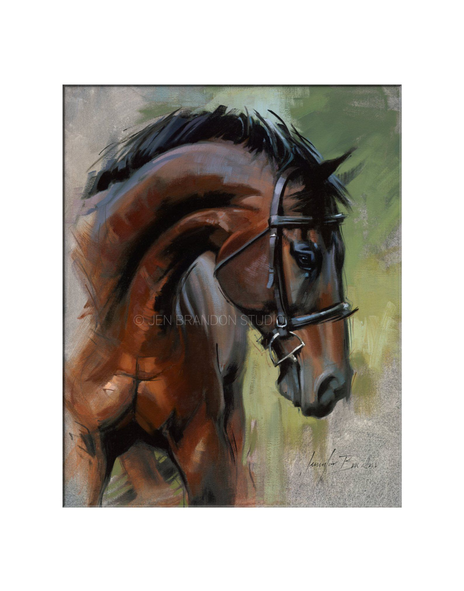 Decoration Murale Cheval Brown Horse Wall Decor Matted Print Horse Portrait Horse Art