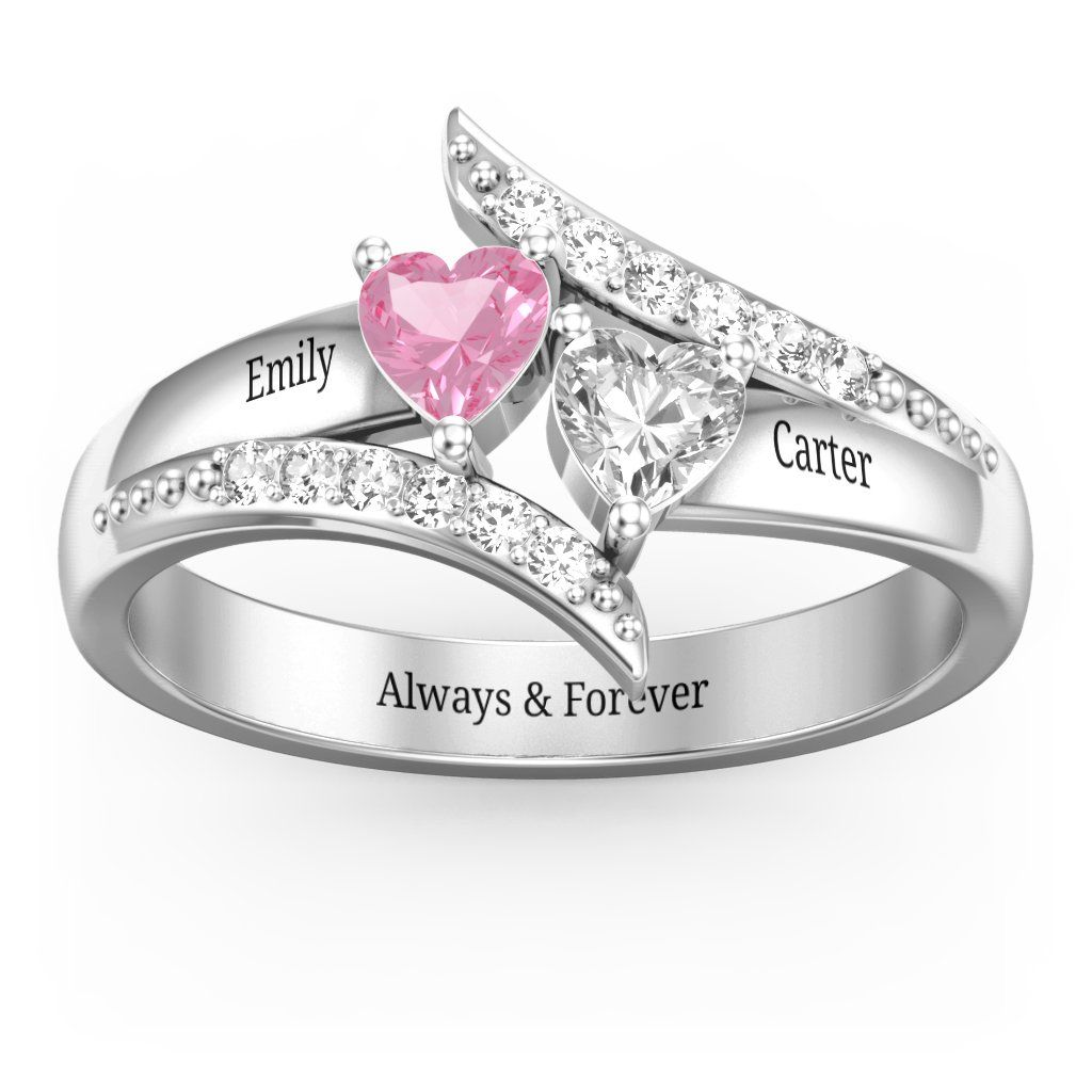 d6e6958da Flared Bypass Ring with Heart Cut Gemstones and Accents in 2019 ...