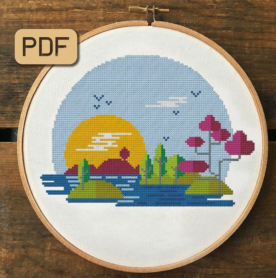 Sunset \u2022 Modern cross stitch pattern \u2022 Mid century cross stitch PDF for beginners \u2022 Earth tones x-stitch sampler \u2022 Easy embroidery