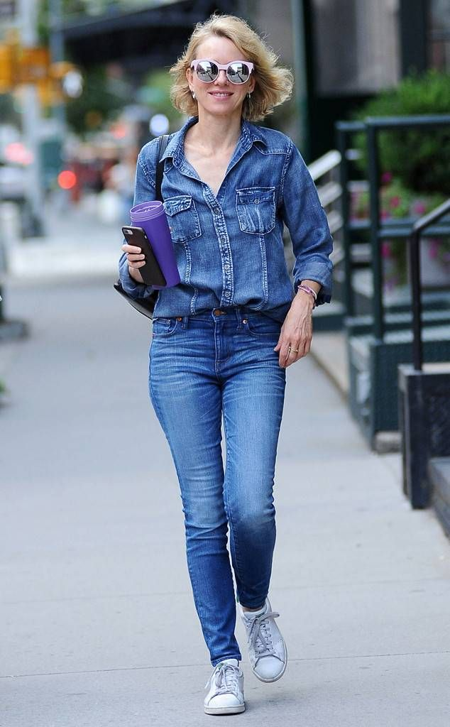 6e48f4189d23 Naomi Watts from The Big Picture: Today's Hot Photos Double denim! The  actress wears her Canadian tuxedo while out and about in NYC.